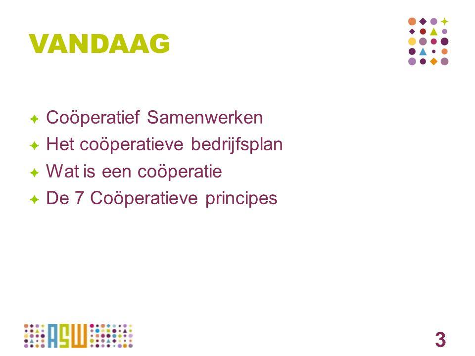 COOPERATIE Een coöperatie is een organisatie die tot doel heeft om de gemeenschappelijke behoeften van de leden te bevredigen.