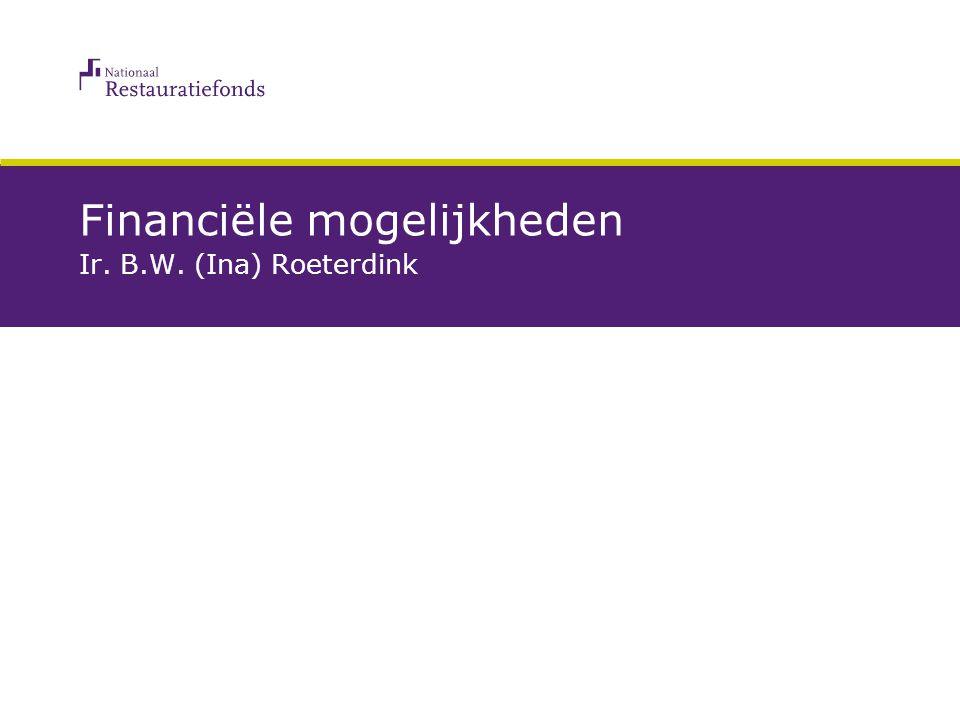 Financiële mogelijkheden Ir. B.W. (Ina) Roeterdink