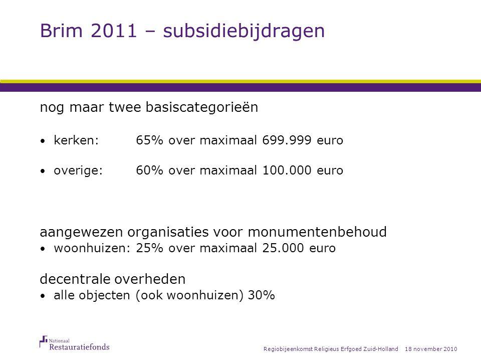 18 november 2010Regiobijeenkomst Religieus Erfgoed Zuid-Holland Brim 2011 - keuze subsidie of lenen Wat betekent dit voor u.