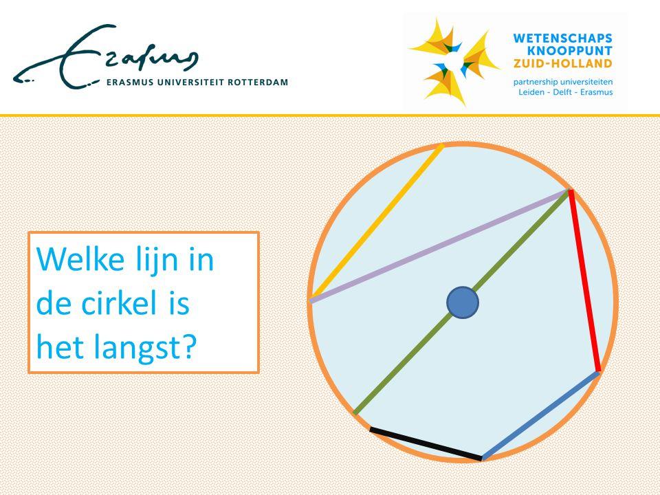 De grootste afstand die kan worden gemeten tussen twee punten op een cirkel heet de DIAMETER Diameter