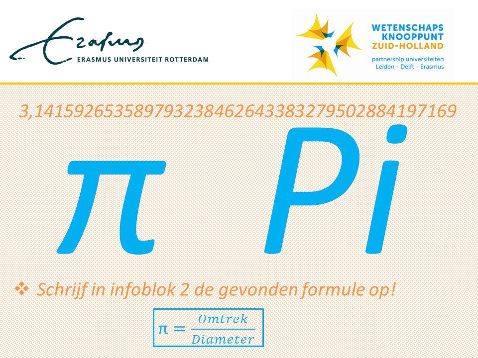 π Pi 3,141592653589793238462643383279502884197169  Schrijf in infoblok 2 de gevonden formule op!