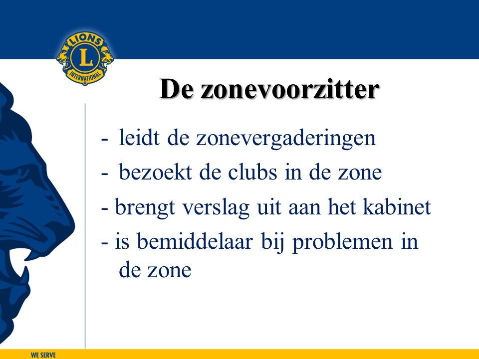 De zonevoorzitter -leidt de zonevergaderingen -bezoekt de clubs in de zone - brengt verslag uit aan het kabinet - is bemiddelaar bij problemen in de z