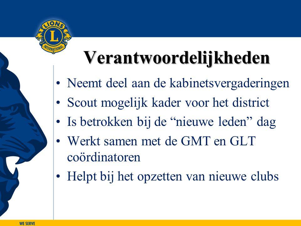 """Verantwoordelijkheden Neemt deel aan de kabinetsvergaderingen Scout mogelijk kader voor het district Is betrokken bij de """"nieuwe leden"""" dag Werkt same"""