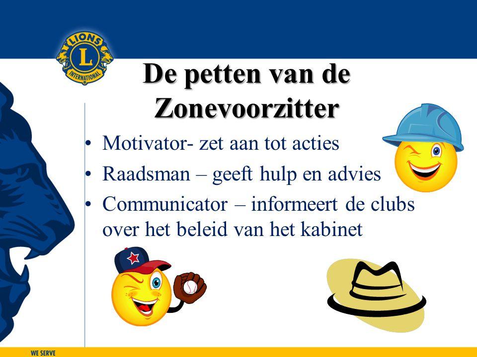 De petten van de Zonevoorzitter Motivator- zet aan tot acties Raadsman – geeft hulp en advies Communicator – informeert de clubs over het beleid van h