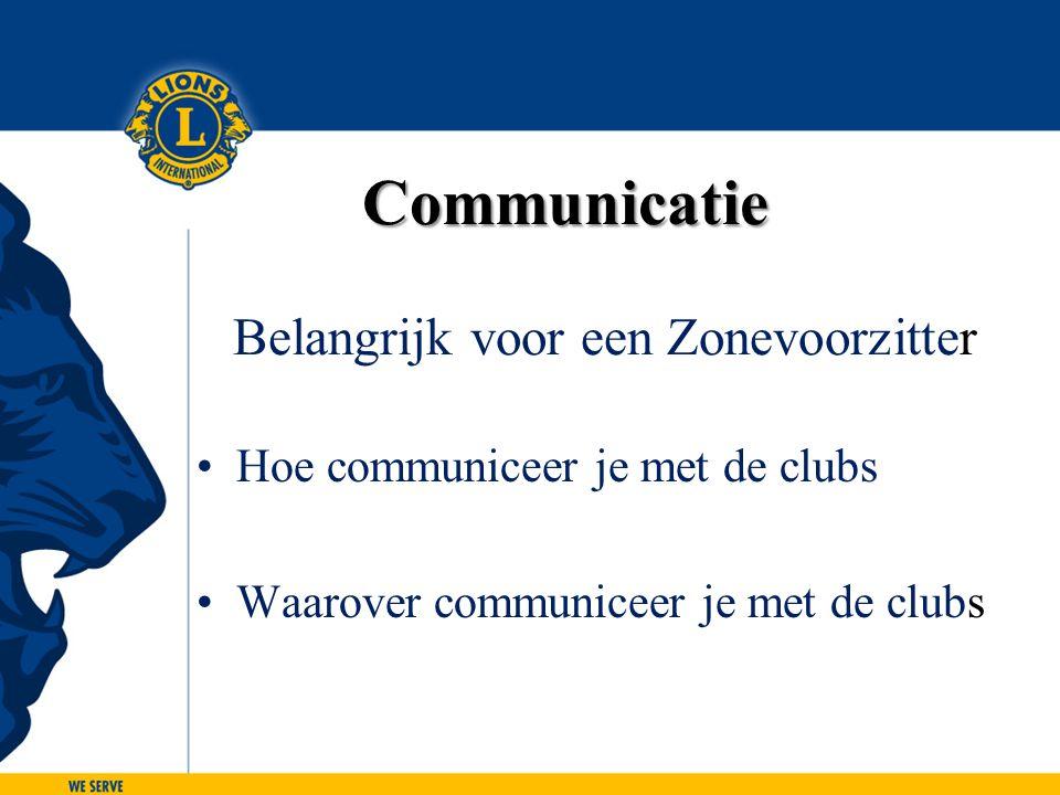 Communicatie Communicatie Belangrijk voor een Zonevoorzitter Hoe communiceer je met de clubs Waarover communiceer je met de clubs