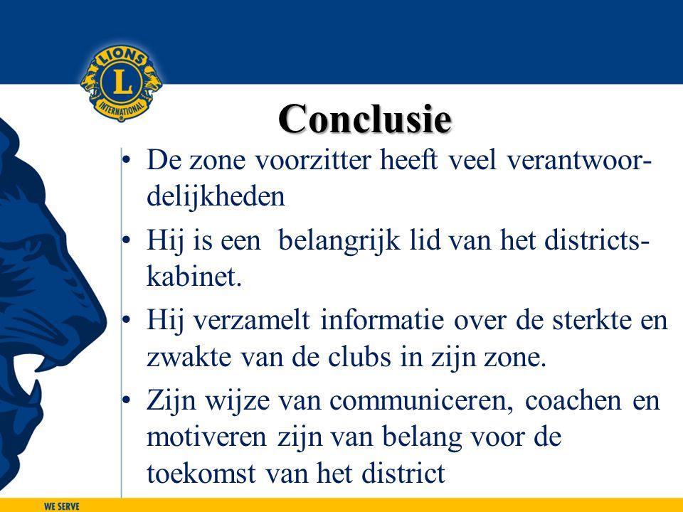 Conclusie De zone voorzitter heeft veel verantwoor- delijkheden Hij is een belangrijk lid van het districts- kabinet. Hij verzamelt informatie over de