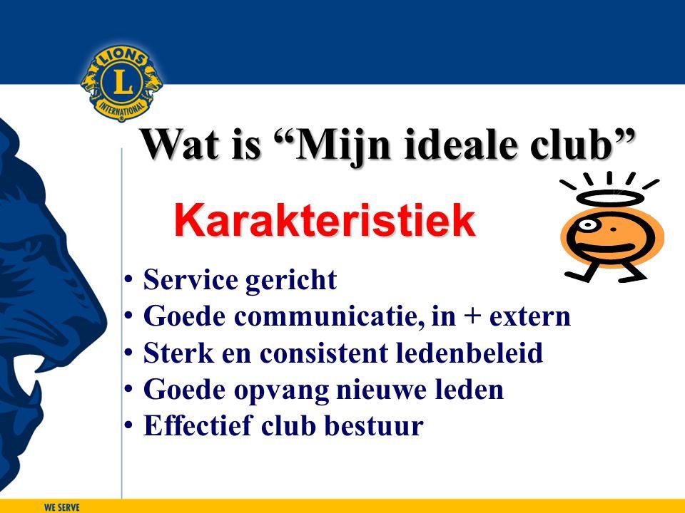 """Wat is """"Mijn ideale club"""" Service gericht Goede communicatie, in + extern Sterk en consistent ledenbeleid Goede opvang nieuwe leden Effectief club bes"""