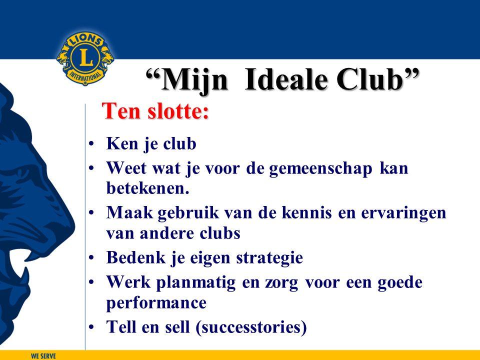 Ken je club Weet wat je voor de gemeenschap kan betekenen. Maak gebruik van de kennis en ervaringen van andere clubs Bedenk je eigen strategie Werk pl