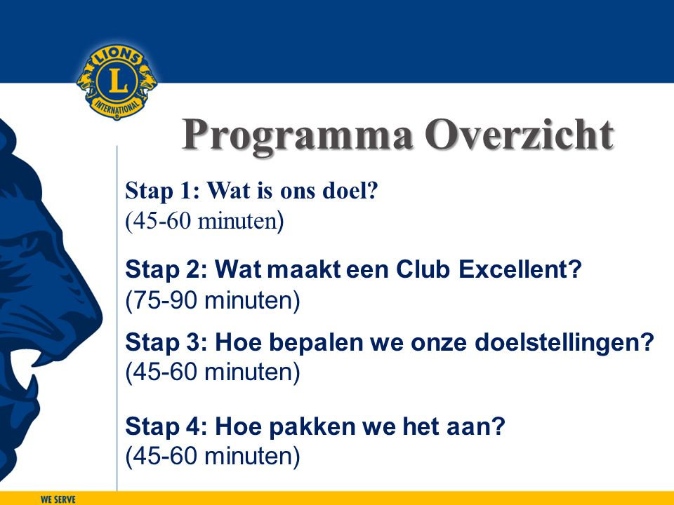 LIONS CLUBS INTERNATIONAL CLUB EXCELLENCE PROCESS 46 Stap 2: Wat maakt een Club Excellent.
