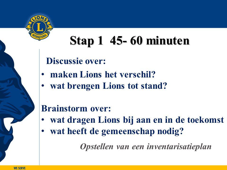 Stap 1 45- 60 minuten Discussie over: maken Lions het verschil? wat brengen Lions tot stand? Brainstorm over: wat dragen Lions bij aan en in de toekom
