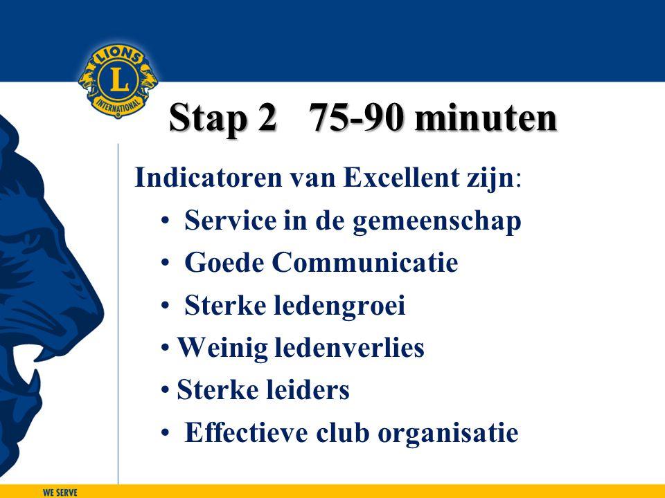 Stap 2 75-90 minuten Indicatoren van Excellent zijn: Service in de gemeenschap Goede Communicatie Sterke ledengroei Weinig ledenverlies Sterke leiders