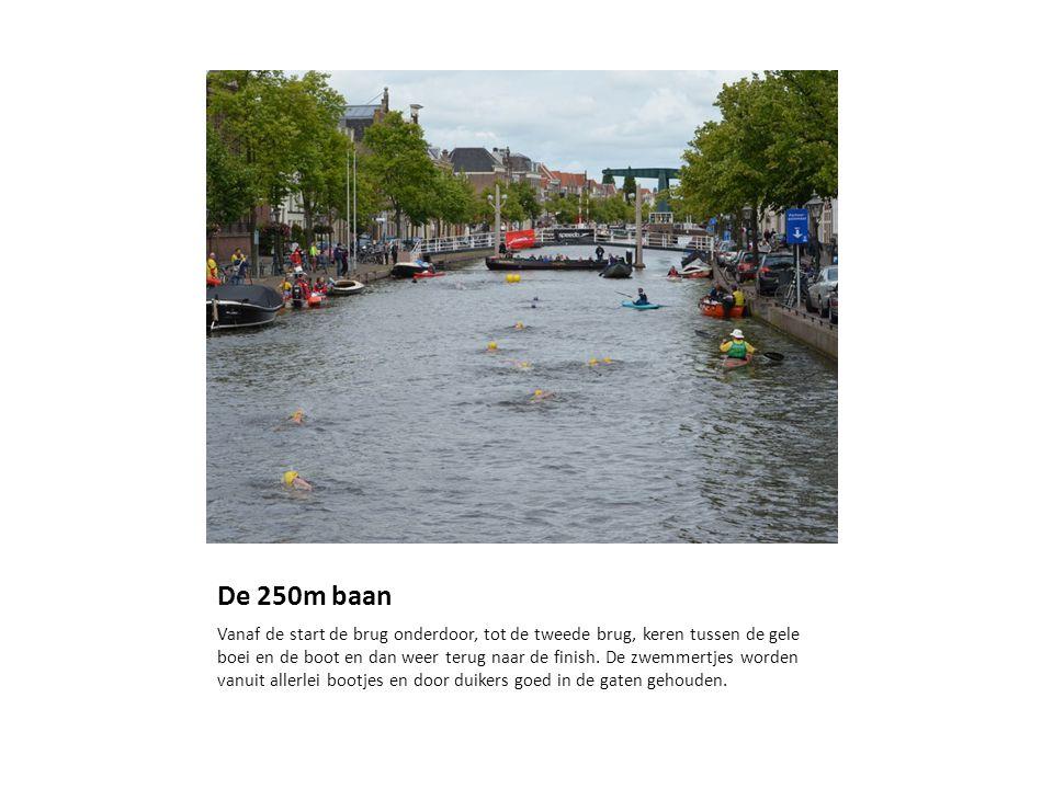 De 250m baan Vanaf de start de brug onderdoor, tot de tweede brug, keren tussen de gele boei en de boot en dan weer terug naar de finish.