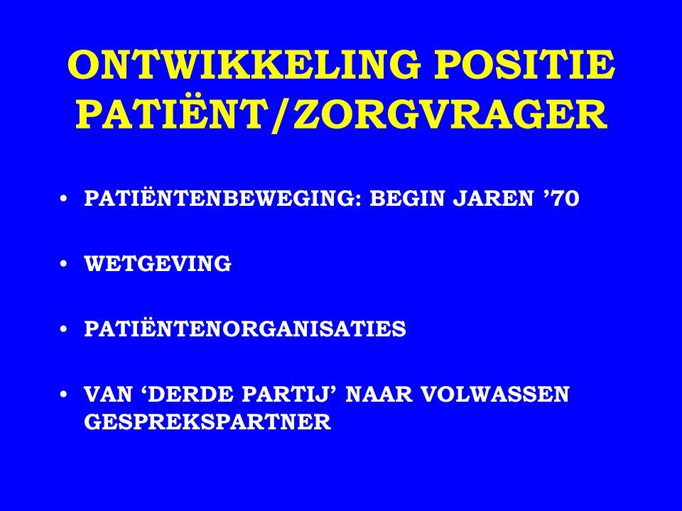 WETGEVING PATIËNTENRECHTEN REGELING HULPVERLENINGSRELATIE GENEESKUNDIGE BEHANDELINGSOVEREENKOMST (WGBO) BESCHERMING KWETSBAREN PSYCHIATRISCHE PATIËNT (WET BOPZ) * MENTORSCHAP BESCHERMING BIJ DERDENBELANGEN ORGAANDONATIE * KEURINGEN * EXPERIMENTEN INBRENG VAN DE PATIËNT KLACHTRECHT * MEDEZEGGENSCHAP KWALITEIT KWALITEITSWET INSTELLINGEN * WET BIG