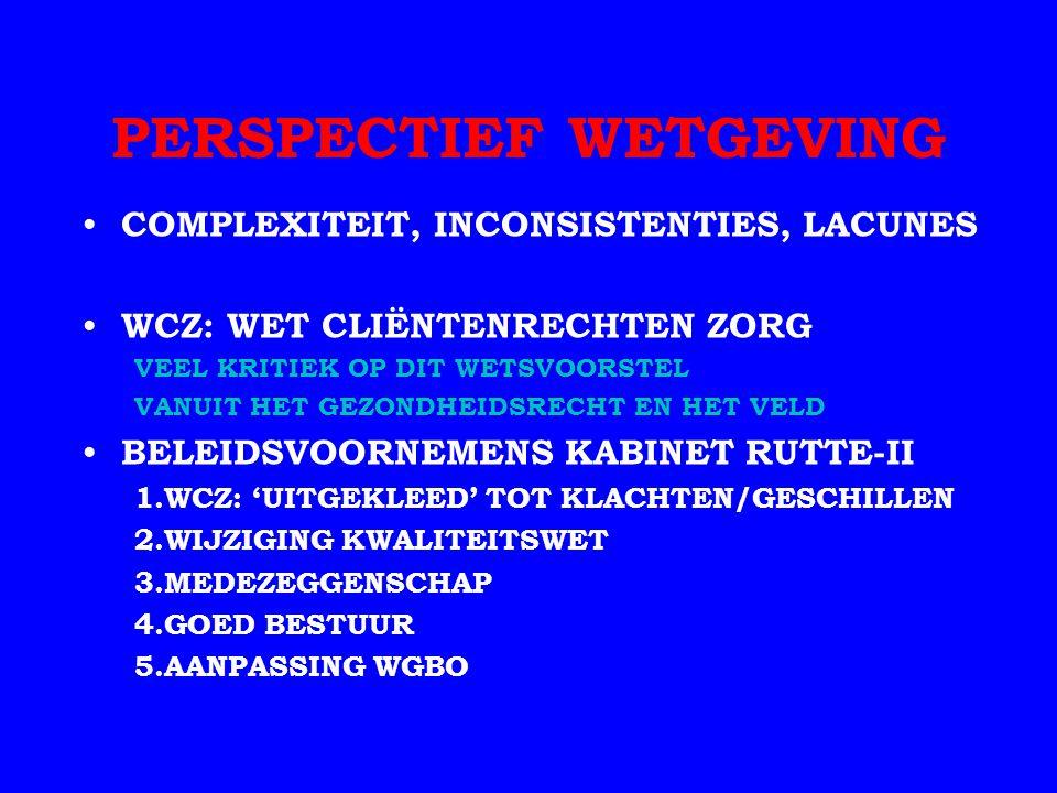 PERSPECTIEF WETGEVING COMPLEXITEIT, INCONSISTENTIES, LACUNES WCZ: WET CLIËNTENRECHTEN ZORG VEEL KRITIEK OP DIT WETSVOORSTEL VANUIT HET GEZONDHEIDSRECHT EN HET VELD BELEIDSVOORNEMENS KABINET RUTTE-II 1.WCZ: 'UITGEKLEED' TOT KLACHTEN/GESCHILLEN 2.WIJZIGING KWALITEITSWET 3.MEDEZEGGENSCHAP 4.GOED BESTUUR 5.AANPASSING WGBO
