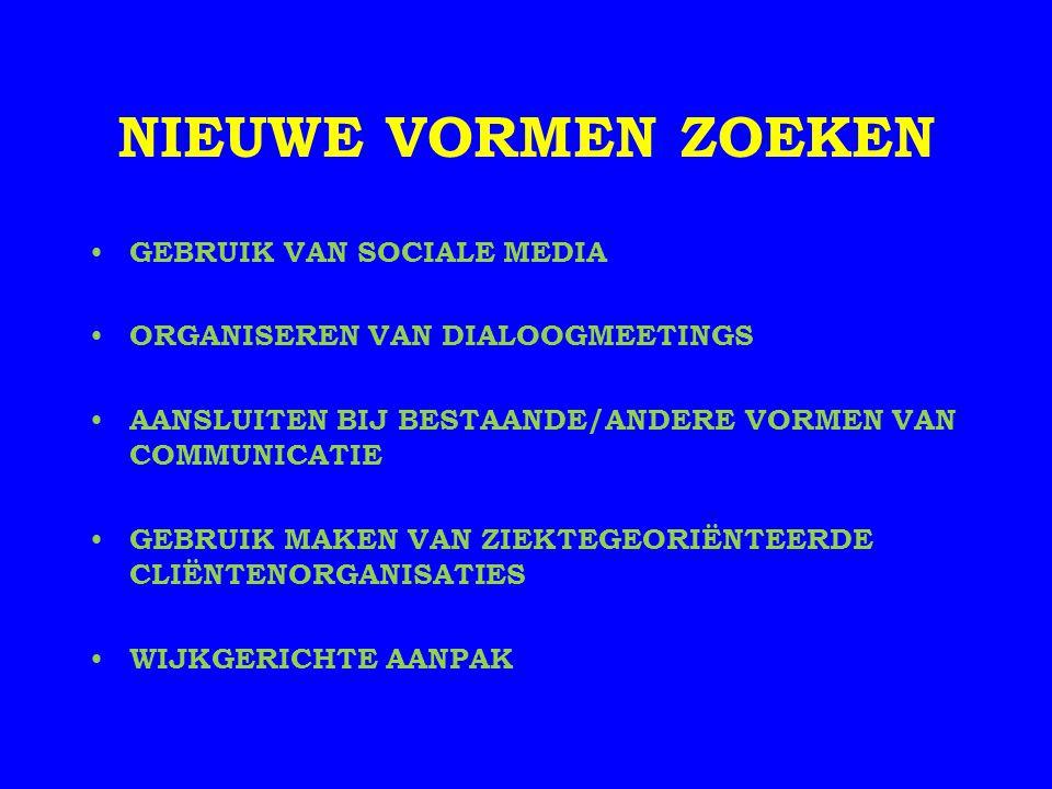 NIEUWE VORMEN ZOEKEN GEBRUIK VAN SOCIALE MEDIA ORGANISEREN VAN DIALOOGMEETINGS AANSLUITEN BIJ BESTAANDE/ANDERE VORMEN VAN COMMUNICATIE GEBRUIK MAKEN V