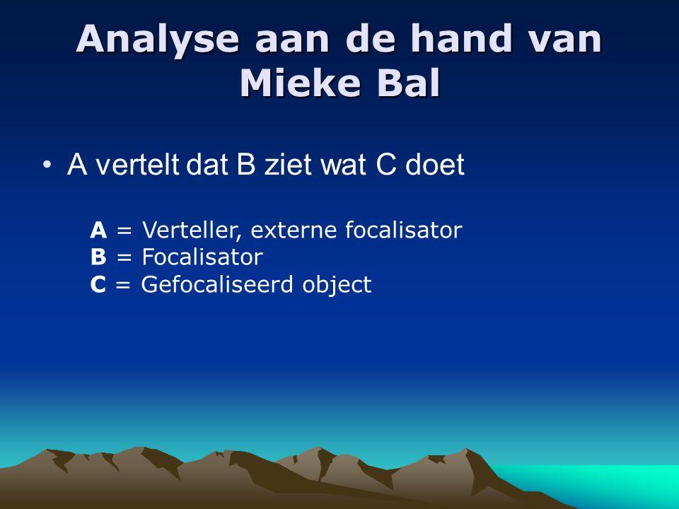 Analyse aan de hand van Mieke Bal A vertelt dat B ziet wat C doet A = Verteller, externe focalisator B = Focalisator C = Gefocaliseerd object