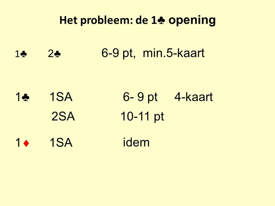 Het probleem: de 1 ♣ opening 1 ♣ 2♣ 6-9 pt, min.5-kaart 1♣ 1SA6- 9 pt 4-kaart 1  1SA idem 2SA 10-11 pt