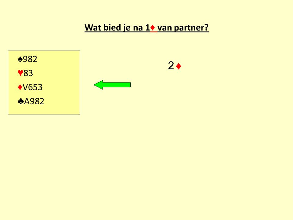 Wat bied je na 1 ♦ van partner? ♠ 982 ♥ 83 ♦ V653 ♣ A982 22