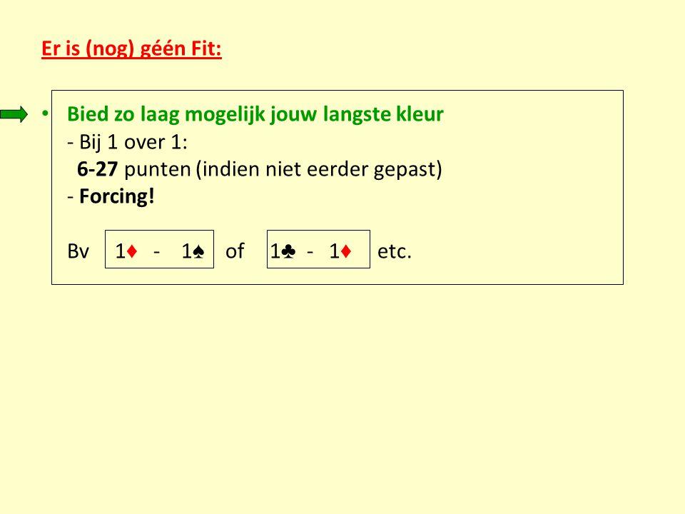 Er is (nog) géén Fit: Bied zo laag mogelijk jouw langste kleur - Bij 1 over 1: 6-27 punten (indien niet eerder gepast) - Forcing! Bv 1 ♦ - 1 ♠ of 1 ♣