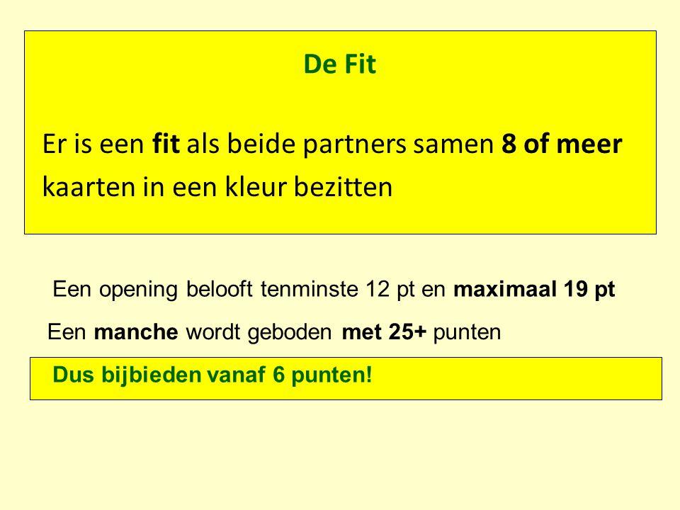 De Fit Er is een fit als beide partners samen 8 of meer kaarten in een kleur bezitten Een opening belooft tenminste 12 pt en maximaal 19 pt Een manche