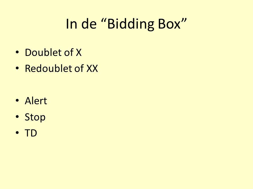 """In de """"Bidding Box"""" Doublet of X Redoublet of XX Alert Stop TD"""