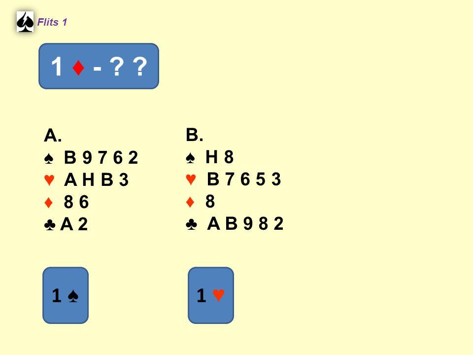 A. ♠ B 9 7 6 2 ♥ A H B 3 ♦ 8 6 ♣ A 2 B. ♠ H 8 ♥ B 7 6 5 3 ♦ 8 ♣ A B 9 8 2 Flits 1 1 ♦ - ? ? 1 ♠ 1 ♥1 ♥