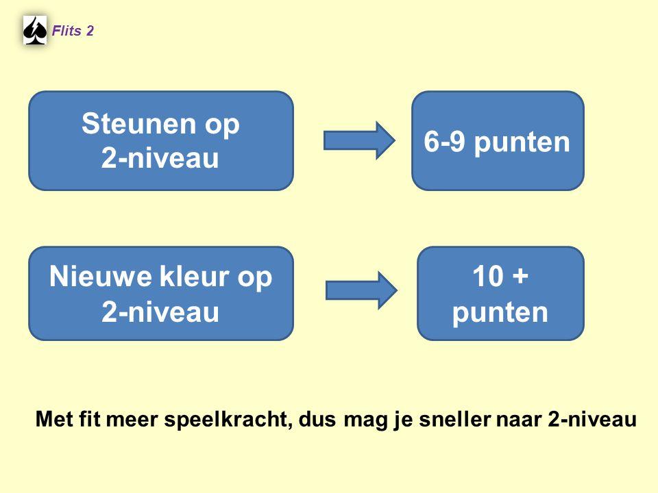 Flits 2 Steunen op 2-niveau 6-9 punten Nieuwe kleur op 2-niveau 10 + punten Met fit meer speelkracht, dus mag je sneller naar 2-niveau