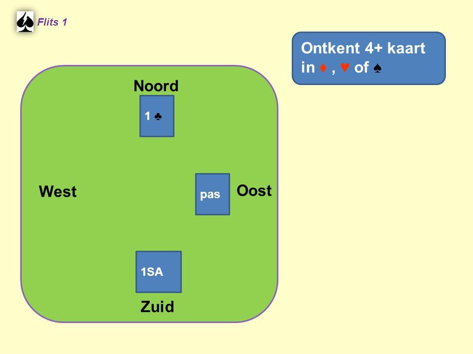 Noord Flits 1 Oost West Zuid Ontkent 4+ kaart in ♦, ♥ of ♠ 1 ♣ pas 1SA