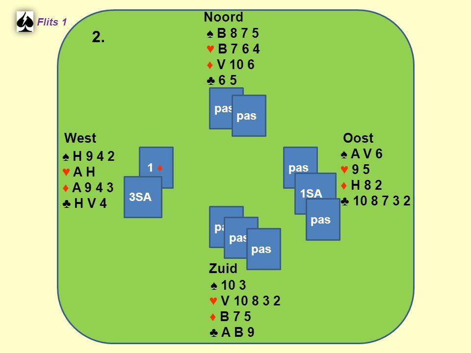 Zuid ♠ 10 3 ♥ V 10 8 3 2 ♦ B 7 5 ♣ A B 9 West ♠ H 9 4 2 ♥ A H ♦ A 9 4 3 ♣ H V 4 Noord ♠ B 8 7 5 ♥ B 7 6 4 ♦ V 10 6 ♣ 6 5 Oost ♠ A V 6 ♥ 9 5 ♦ H 8 2 ♣