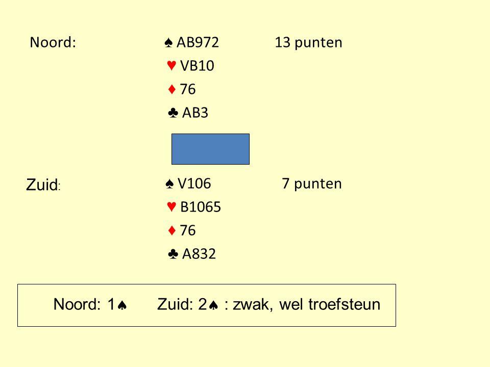 Noord: ♠ AB97213 punten ♥ VB10 ♦ 76 ♣ AB3 ♠ V106 7 punten ♥ B1065 ♦ 76 ♣ A832 Zuid : Noord: 1  Zuid: 2  : zwak, wel troefsteun