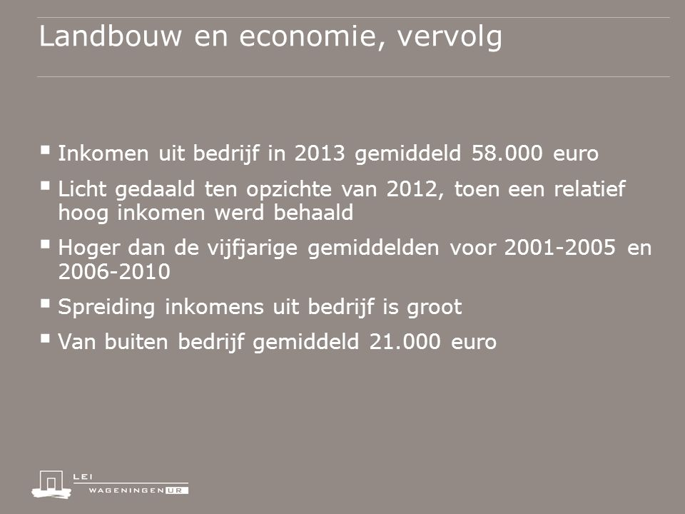 Landbouw en economie, vervolg  Inkomen uit bedrijf in 2013 gemiddeld 58.000 euro  Licht gedaald ten opzichte van 2012, toen een relatief hoog inkomen werd behaald  Hoger dan de vijfjarige gemiddelden voor 2001-2005 en 2006-2010  Spreiding inkomens uit bedrijf is groot  Van buiten bedrijf gemiddeld 21.000 euro
