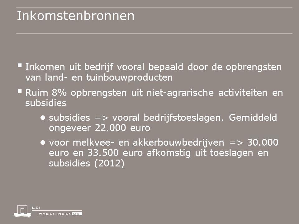 Inkomstenbronnen  Inkomen uit bedrijf vooral bepaald door de opbrengsten van land- en tuinbouwproducten  Ruim 8% opbrengsten uit niet-agrarische activiteiten en subsidies ● subsidies => vooral bedrijfstoeslagen.