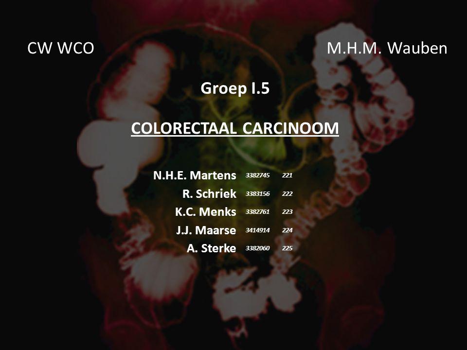COLORECTAAL CARCINOOM N.H.E. Martens R. Schriek K.C.