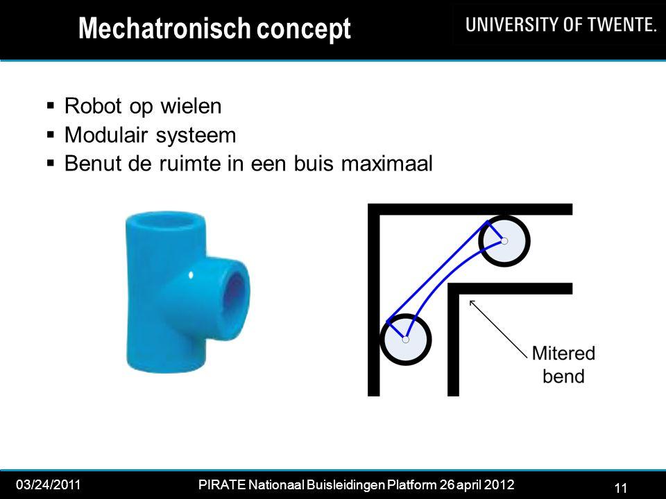 11 03/24/2011PIRATE Nationaal Buisleidingen Platform 26 april 2012 2012 Mechatronisch concept  Robot op wielen  Modulair systeem  Benut de ruimte in een buis maximaal 11