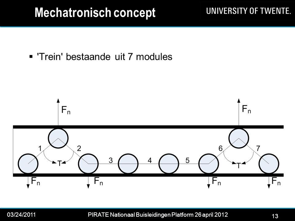 13 03/24/2011PIRATE Nationaal Buisleidingen Platform 26 april 2012 2012 13  Trein bestaande uit 7 modules Mechatronisch concept