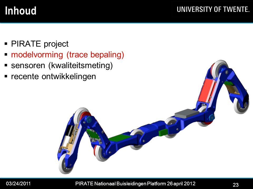 23 03/24/2011PIRATE Nationaal Buisleidingen Platform 26 april 2012 2012 23 Inhoud  PIRATE project  modelvorming (trace bepaling)  sensoren (kwaliteitsmeting)  recente ontwikkelingen