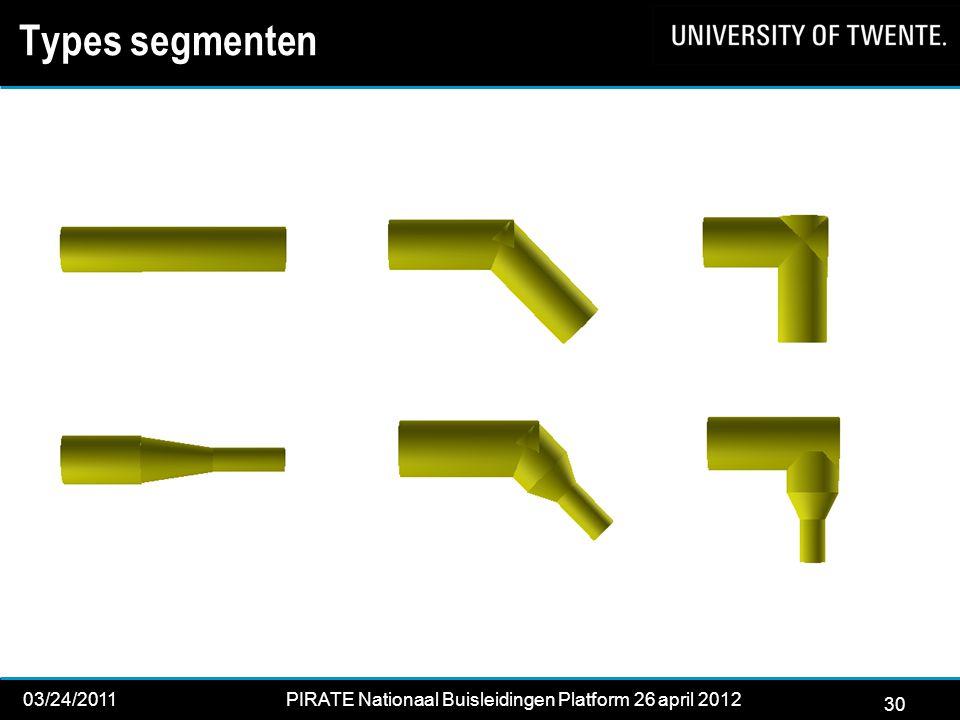 30 03/24/2011PIRATE Nationaal Buisleidingen Platform 26 april 2012 2012 30 Types segmenten