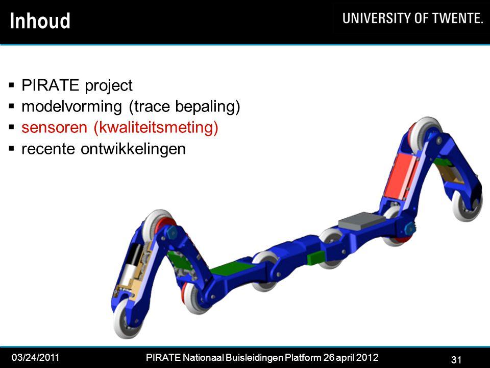 31 03/24/2011PIRATE Nationaal Buisleidingen Platform 26 april 2012 2012 31 Inhoud  PIRATE project  modelvorming (trace bepaling)  sensoren (kwaliteitsmeting)  recente ontwikkelingen