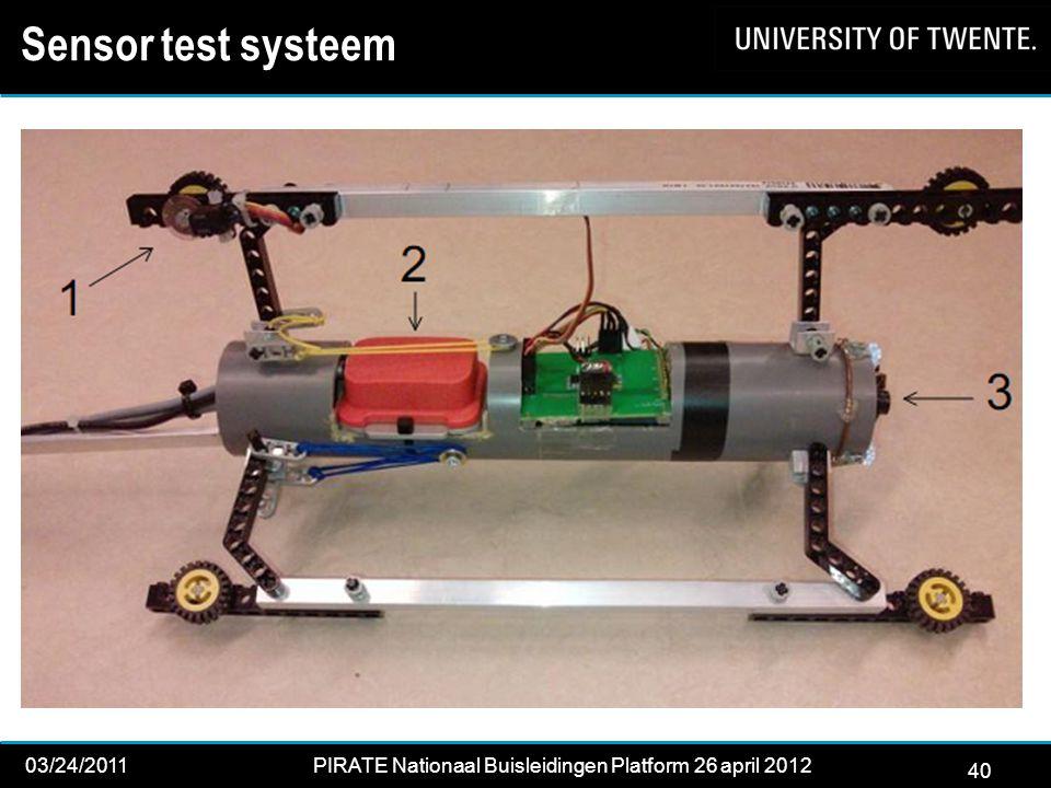 40 03/24/2011PIRATE Nationaal Buisleidingen Platform 26 april 2012 2012 40 Sensor test systeem