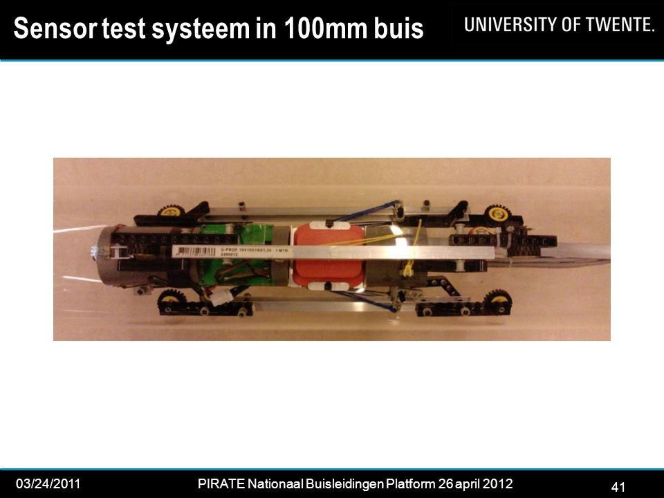 41 03/24/2011PIRATE Nationaal Buisleidingen Platform 26 april 2012 2012 41 Sensor test systeem in 100mm buis