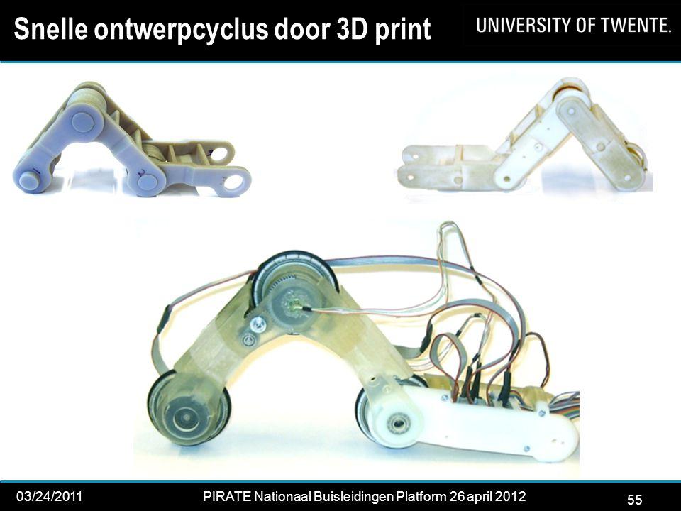 55 03/24/2011PIRATE Nationaal Buisleidingen Platform 26 april 2012 2012 Snelle ontwerpcyclus door 3D print 55