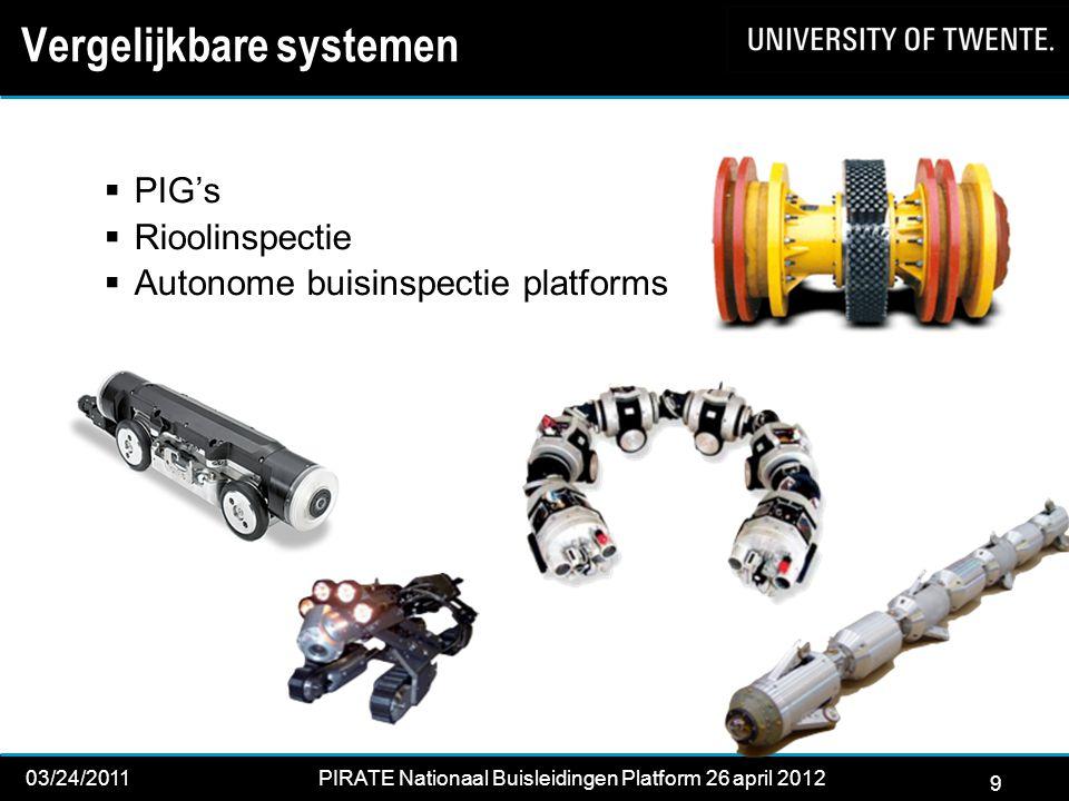9 03/24/2011PIRATE Nationaal Buisleidingen Platform 26 april 2012 2012 Vergelijkbare systemen  PIG's  Rioolinspectie  Autonome buisinspectie platforms 9