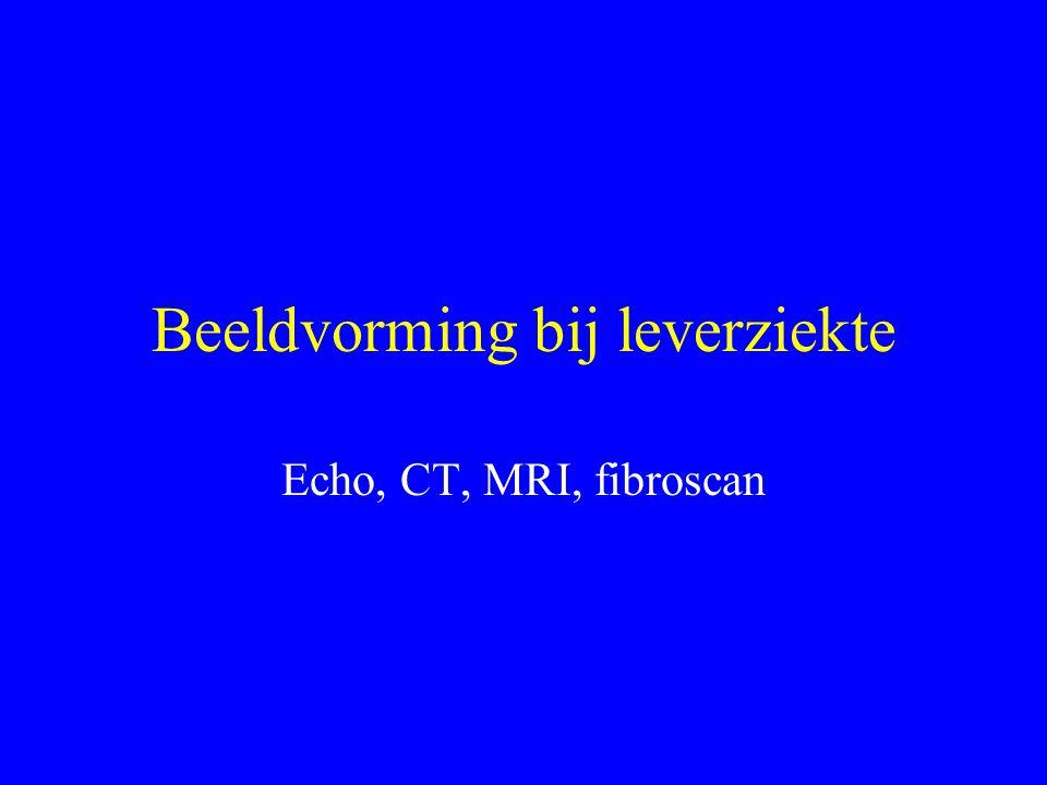 Beeldvorming bij leverziekte Echo, CT, MRI, fibroscan