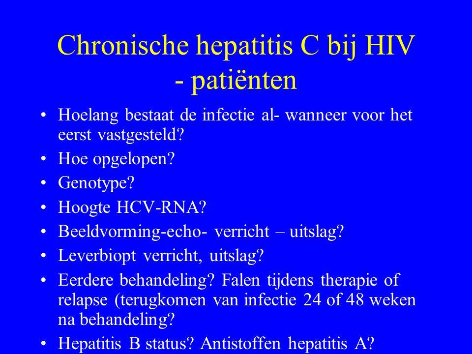 Chronische hepatitis C bij HIV - patiënten Hoelang bestaat de infectie al- wanneer voor het eerst vastgesteld.