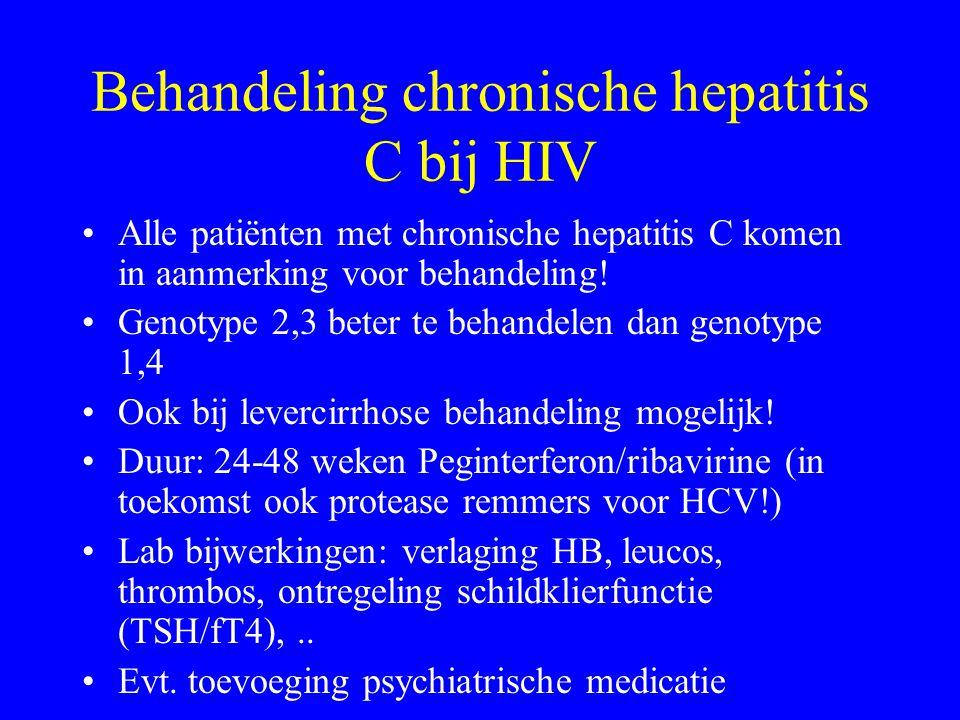 Behandeling chronische hepatitis C bij HIV Alle patiënten met chronische hepatitis C komen in aanmerking voor behandeling.