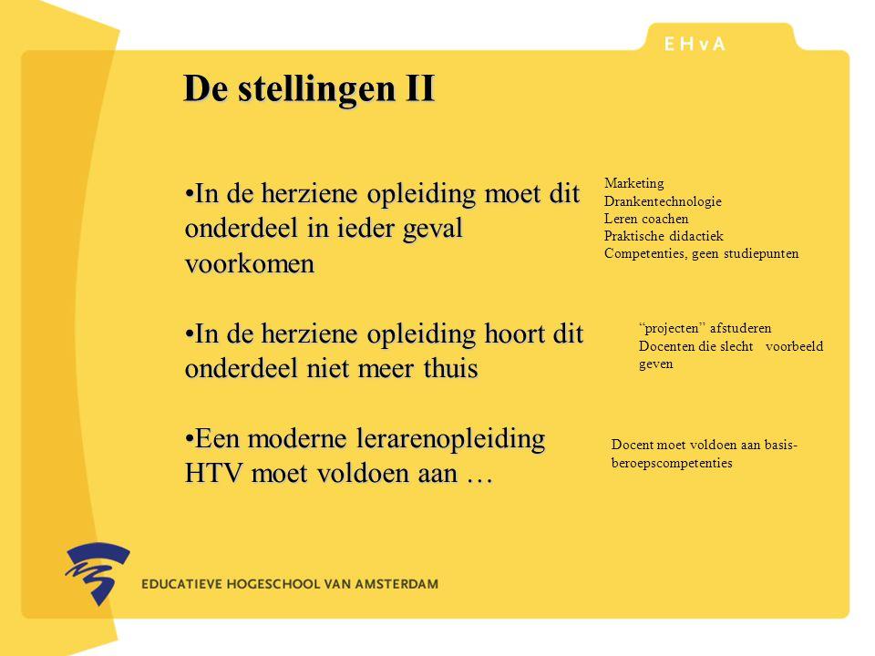 leraar of pedagoog word je aan de Educatieve Hogeschool van Amsterdam De stellingen II In de herziene opleiding moet dit onderdeel in ieder geval voorkomenIn de herziene opleiding moet dit onderdeel in ieder geval voorkomen In de herziene opleiding hoort dit onderdeel niet meer thuisIn de herziene opleiding hoort dit onderdeel niet meer thuis Een moderne lerarenopleiding HTV moet voldoen aan …Een moderne lerarenopleiding HTV moet voldoen aan … Marketing Drankentechnologie Leren coachen Praktische didactiek Competenties, geen studiepunten projecten afstuderen Docenten die slecht voorbeeld geven Docent moet voldoen aan basis- beroepscompetenties