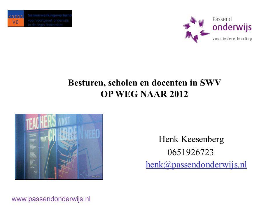 Beleid van Bijsterveldt: Wetgeving per 1 augustus 2012 Inwerkingtreding 1 augustus 2013 Volledige en verevende budget per 1-8-19 www.passendonderwijs.nl