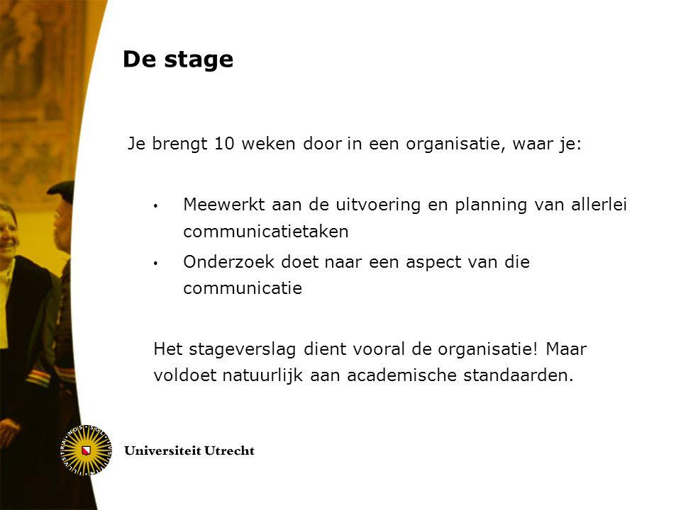 De stage Je brengt 10 weken door in een organisatie, waar je: Meewerkt aan de uitvoering en planning van allerlei communicatietaken Onderzoek doet naa
