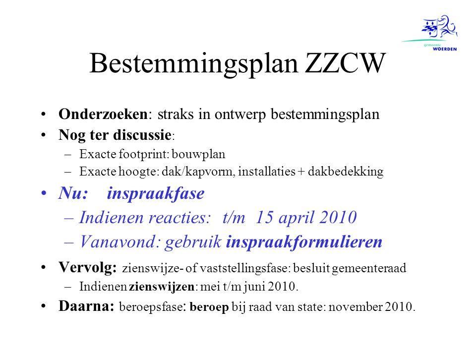 Bestemmingsplan ZZCW Onderzoeken: straks in ontwerp bestemmingsplan Nog ter discussie : –Exacte footprint: bouwplan –Exacte hoogte: dak/kapvorm, insta