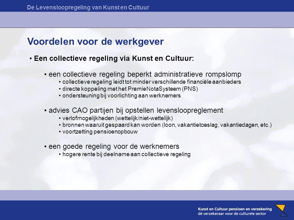 De Levensloopregeling van Kunst en Cultuur Voordelen voor de werkgever Een collectieve regeling via Kunst en Cultuur: een collectieve regeling beperkt